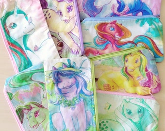 Summerflower pony artprint on pencil pouch