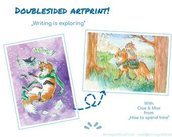 writing is exploring -   doublesided Fox and Bunny Artprint