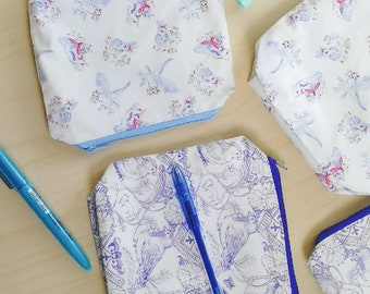 "Midsummer Birds and ""how to spemd time"" zipper pouch in minky or cotton"