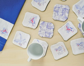 """Fabric coaster - """"Midsummer birds"""" and """"how to spend time'"""