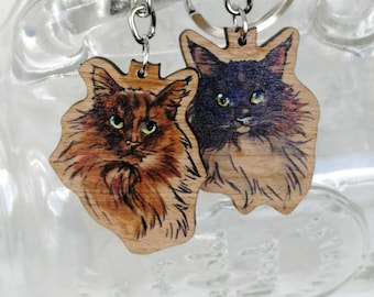 Birchwood Keychains - norwegian forest cats - Walter & Wilma