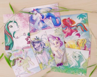 Summerflower postcard set - Ponies and flora!