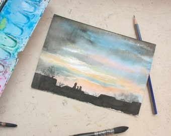Original watercolor painting - awake until sunrise!