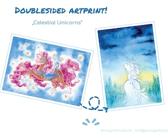 celestial unicorns -   doublesided watercolor Artprint