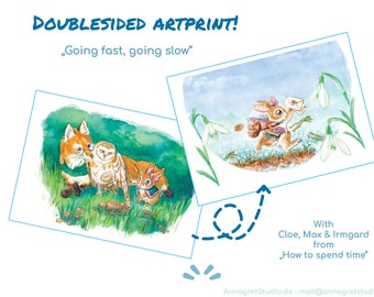 Going fast, going slow -   doublesided Fox, Owl and Bunny Artprint