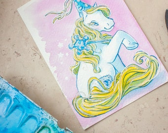 Original watercolor painting - silver blond pony princess!