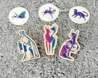 MADE OF STARS wooden pins - western zodiacs in a new coat!