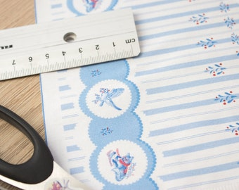 """Miniature cotton sateen fabric for sewing doll clothes - border print: """"Greetings by Post - Lace and Stripes"""""""