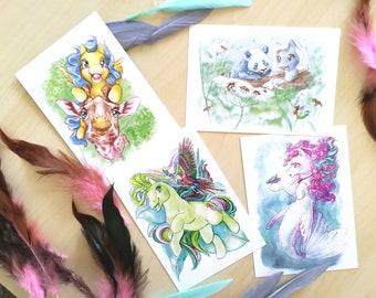 Wildchild postcard set - ponies and their animal soulmate!