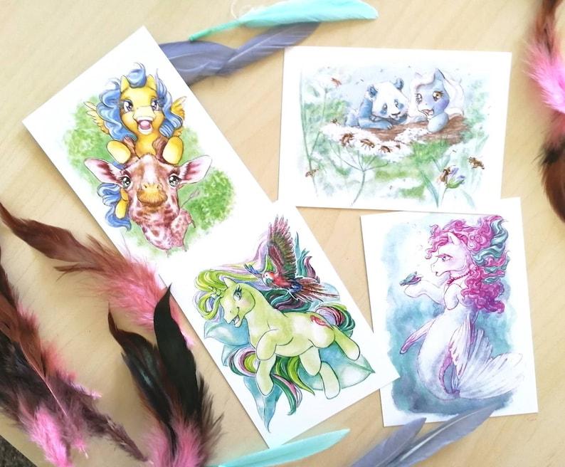 Wildchild postcard set  ponies and their animal soulmate image 0