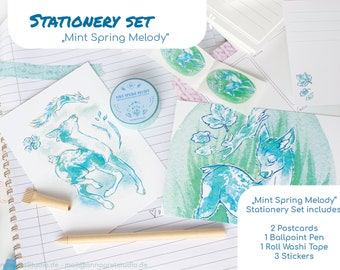 Mint Spring Melody - Stationery Set - Minze, the deer and Eich, the squirrel