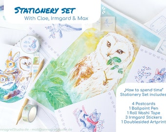 """Greetings by post - the stationary set of """"how to spend time"""" - Irmgard, the owl , Max, the fox and Cloe, the bunny"""