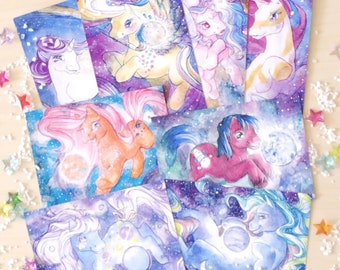 Starstruck postcard set - ponies in the planetary system!