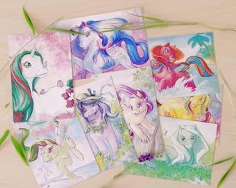 Summerflower postcard set - Ponies and flora!