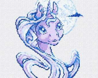 Digital Cross-stich PDF Pattern  Pony - Moonlight Unicorn -