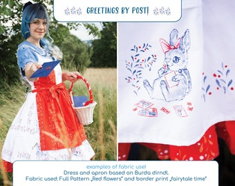 """Cute Dirndl fabric - cotton border print : """"Greetings by Post"""" illustrated fairytale series"""