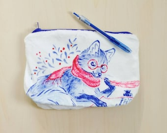 """Midsummer Birds and """"how to spend time"""" zipper pouch in minky or cotton"""