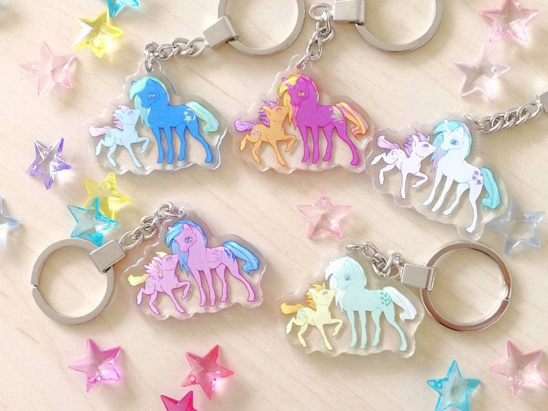 Doublesided glitter charms  Ponies unicorns and pegasi image 0