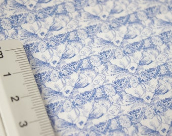 """Miniature sateen fabric for sewing doll clothes -  full cover pattern - """"Midsummernight birds"""""""