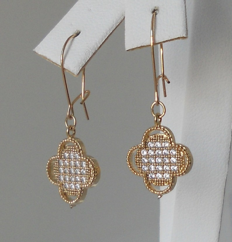 Petite Pave Clover Pendant Earrings