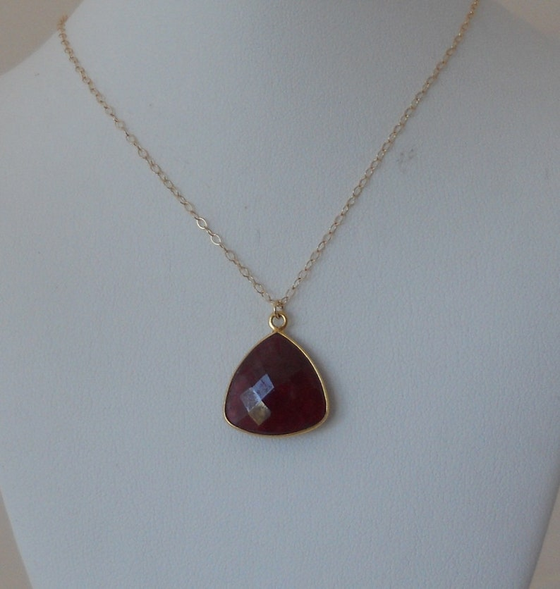 Raw Ruby Red Trillion Shaped Gold Necklace
