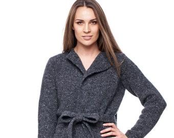 a170ebace3 Dark Grey Throw-On Sweater    Womens Sweater    Womens Claok    Tweedo  Cloak    Coat with Belt    Womens Dark Gray Coat    Gift For Her