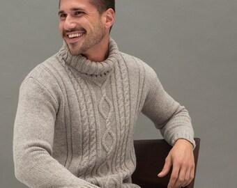 Merino Wool Turtleneck Sweater, Men's Turtleneck, Natural Wool Turtleneck Top, Hand Knitted Pullover LANDI
