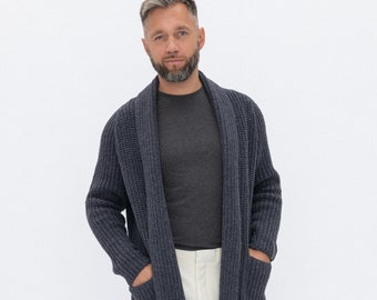 Men open cardigan | Etsy