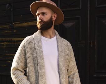 Soft Merino Wool Men's Cardigan, Hand Knitted Woolen Sweater, Open Front Cardigan for Man in Light Melange
