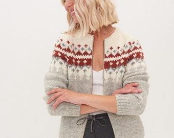 Soft Merino Wool Jumoper, Scandi Style Knitted Merino Sweater, Womens Cosy Sweater with zip SNOW