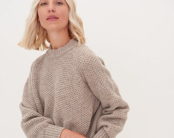 Merino wool pullover, cashmere wool jumper, women's knitted sweater, soft honeycomb knitting merino top MAGMA / cacao