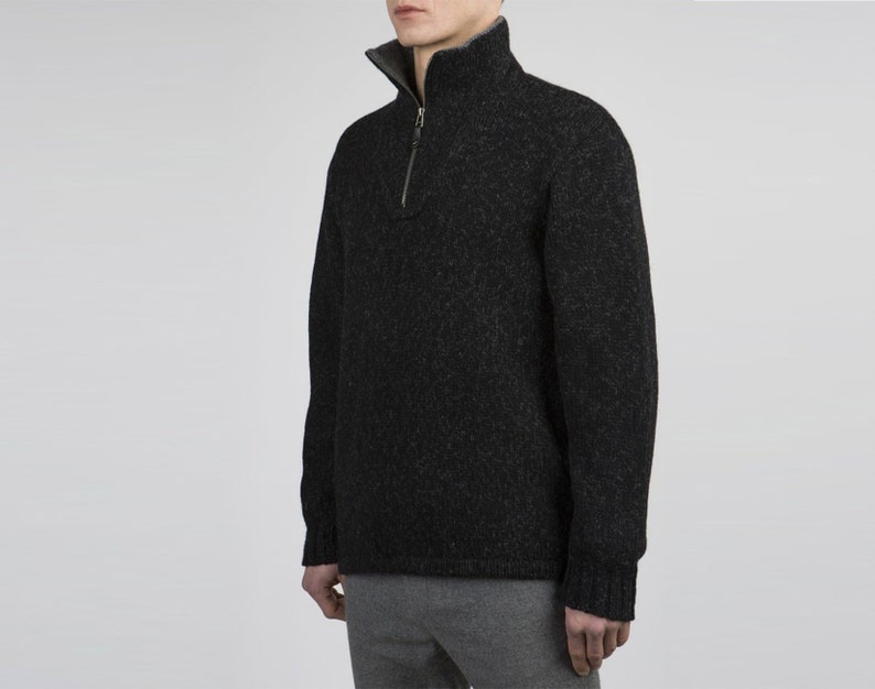 fa932b10967 Men's Black Woolen Sweater With High Collar and In Plain Pattern