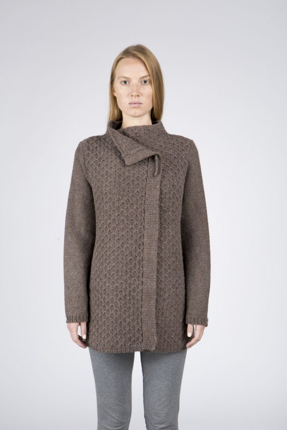 Womens Wool Sweater In Brown Chocolate Coat For Women Etsy