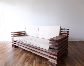 Design sofa made of wood in your favorite colors