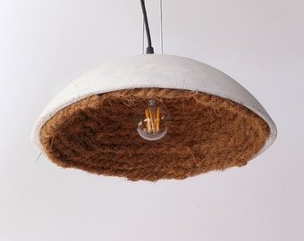 Concrete lampshade with coconut rope