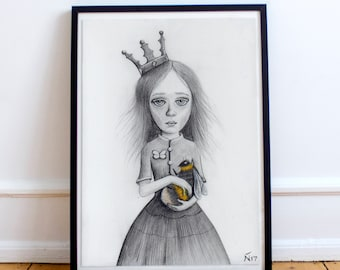 Queen bee print bumblebee painting insect illustration pencil sketch art nursery and home decor christmas gift idea mothers day