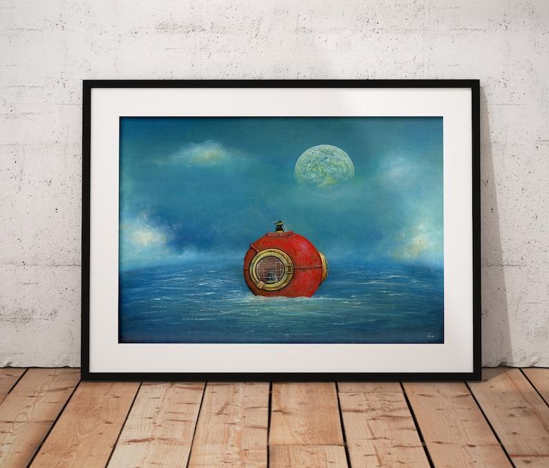 Bee Art Print Seascape Art Nautical Wall Art Nursery Decor image 0