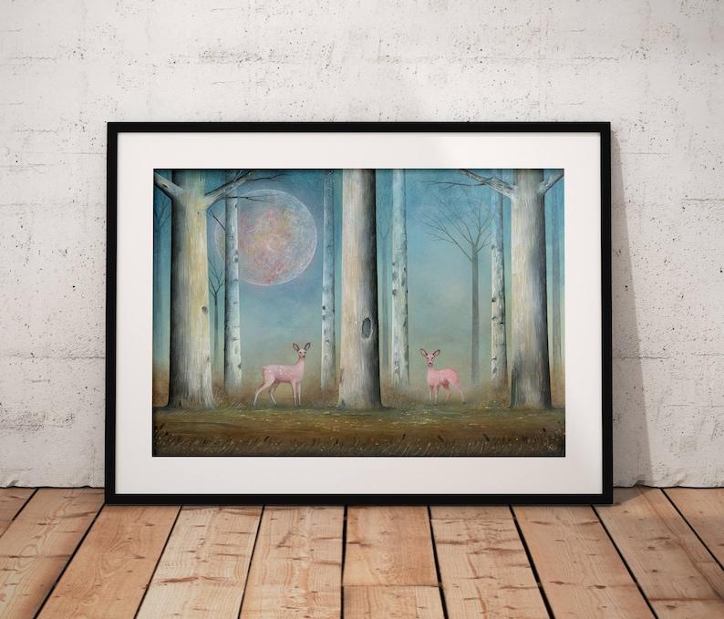 Pink Deer Wall Art  Deer Fine Art Print  Wildlife Painting  image 0