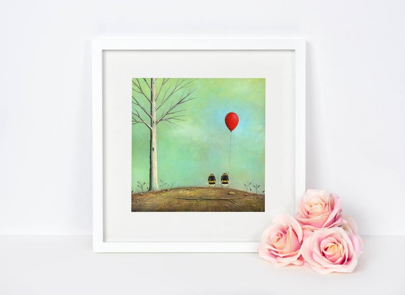 Insect Wall Art Bee Art Print Valentine's Day Gift image 0
