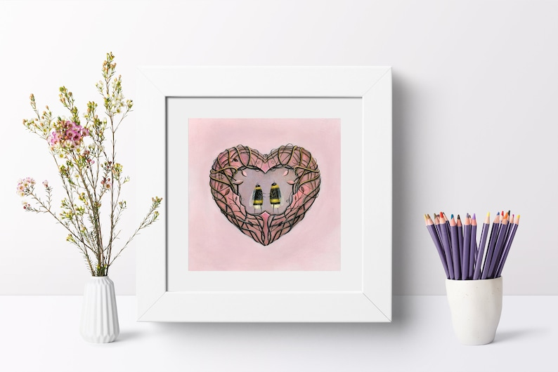 Bee Art Print Insect Wall Art Quirky Gift Idea Love Heart image 0