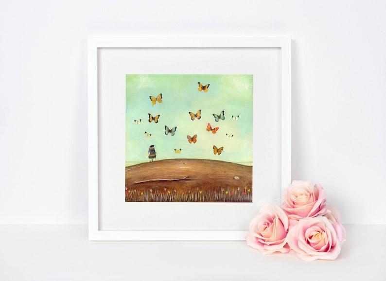 Bee Art Print Butterfly Art Quirky Gift Gardener Gift image 0