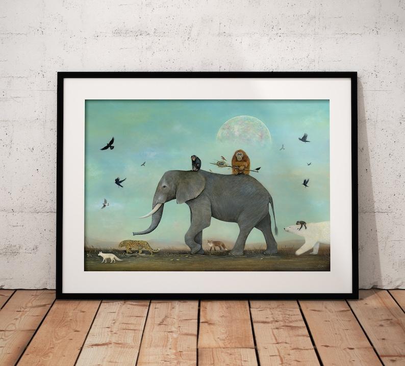 Elephant Art Print Polar Bear Art Orangutan Chimpanzee Art image 0