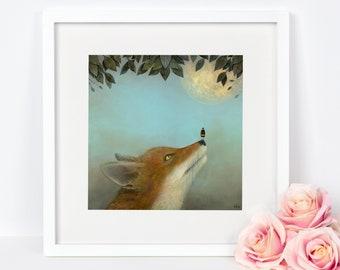 Fox Art Print, Bee Art, Full Moon Print, Wildlife Animal Art, Christmas Gift, Red Fox Painting, Woodland Nursery Art, Bee Print