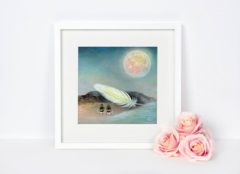 Bee Art Print Feather Art Astronomy Gift Full Moon Art image 0