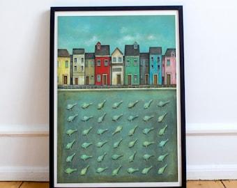 Seascape Art Print, Sea Houses Painting, Seaside Print, Sea Houses Art, Fish Art Print, Quirky Gift Idea, Seaside Illustration, Sea Front