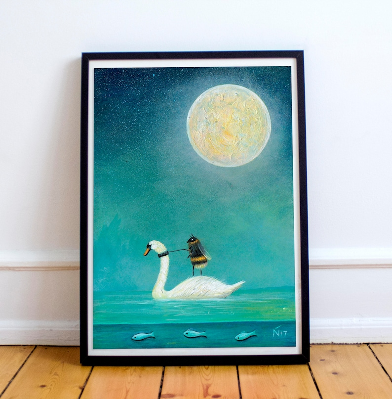 White Swan Print Bee Print Insect Wall Art Astronomy Gift image 0