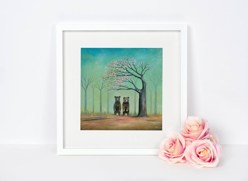 Brown Bear Art Cherry Blossom Tree Quirky Gift Nursery image 0