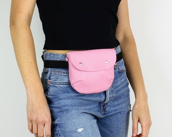 Pink Leather Fanny Pack / Travel Bag, Festival Bag, Leather Hip Bag, Belt Bag, Leather Waist Bag, Hip Bag, Leather Bum Bag, Leather Belt Bag