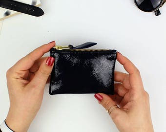 Navy Patent Leather Coin Pouch // Small pouch, Small zipper pouch, Coin purse, Change pouch, Leather coin pouch, Leather coin wallet