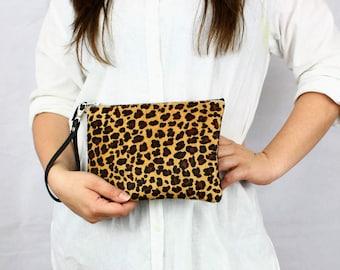 Leopard Print Leather Clutch Purse // Small Leather Clutch, Bridesmaids Bag, Everyday Clutch, Clutch Bag, Bridal Bag, Bridesmaid Clutch